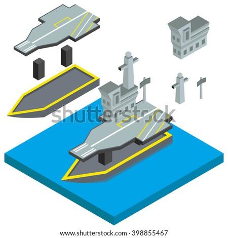 Isometric Military ships vector illustration - stock vector