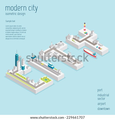 Isometric modern city vector illustration - stock vector