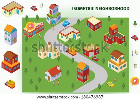 Isometric Neighborhood - stock vector