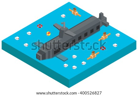 Isometric Nuclear submarine traveling on water. Vector illustration - stock vector