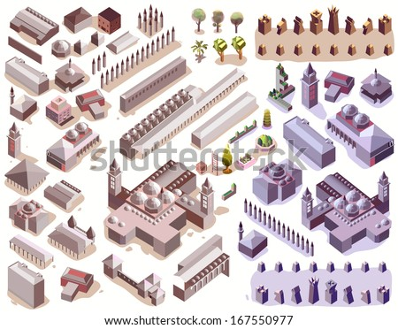 isometric of empire.info graphic and map elements map vector - stock vector