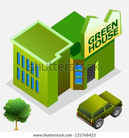 isometric of green house - stock vector