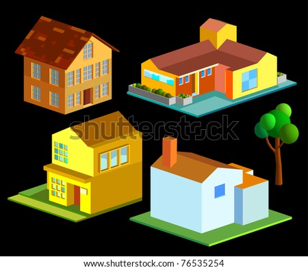 isometric of several house group - stock vector