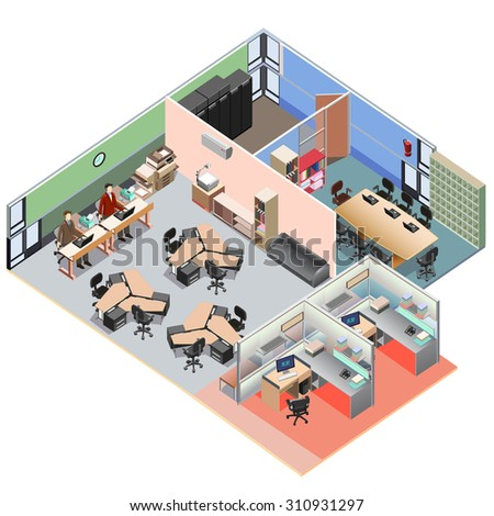 Isometric office interior layout. detailed vector illustration.  - stock vector