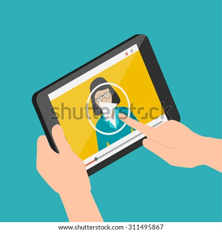 Isometric online learning concept, webinar, conference, lectures and internet training, 3d vector illustration. - stock vector