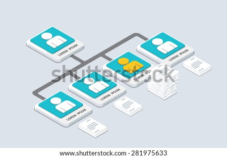 Isometric organization and sturcture. flat 3d organization pop-up from ground. vector illustration - stock vector