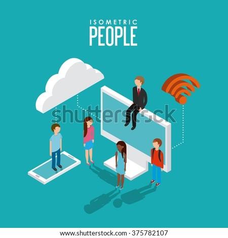 isometric people design  - stock vector