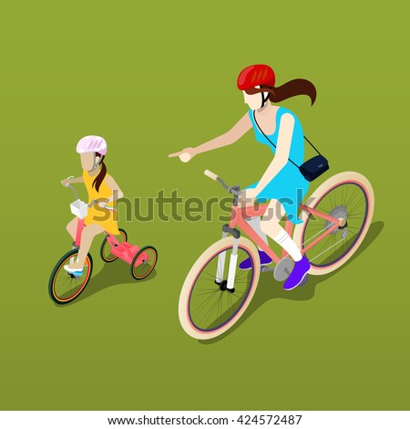 Isometric People. Isometric Bicycle. Mother and Daughter Cyclist. Girl Cyclist. Isometric Transportation. Mother and Daughter. Healthy Lifestyle. Family Vacation. Vector illustration - stock vector