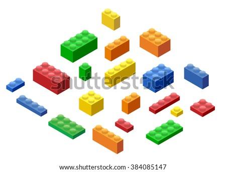 Isometric Plastic Building Blocks and Tiles - stock vector