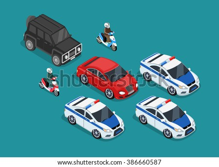 Isometric police motorcade car flat design. 3D police guard, motorcade escort, policeman on motorcycle, 3d cortege police car police protection, motorbike police patrol, transport famous safeguard - stock vector