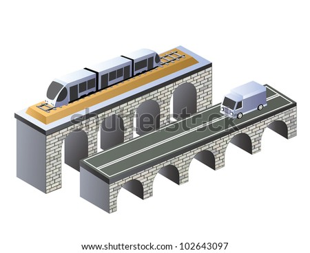 Isometric projection of the urban area of the road on the bridge - stock vector