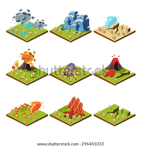 Isometric representation of natural disaster vector illustration set - stock vector