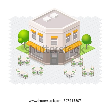 Isometric restaurant building with outdoor seating. - stock vector