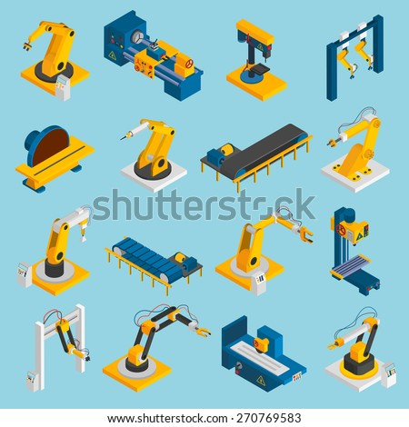 Isometric robot machinery remote mechanical operators 3d icons set isolated vector illustration - stock vector