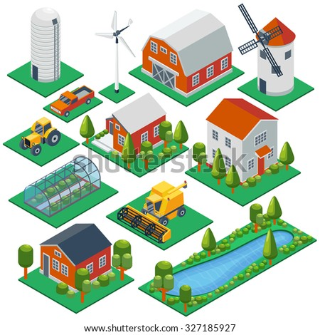 Isometric rural buildings and cottages. 3d tractor, combine, pickup  vector icons set. Barn and building village, greenhouse and husbandry illustration - stock vector