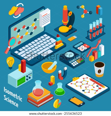 Isometric science workplace concept with computer and 3d chemistry and physics icons vector illustration - stock vector