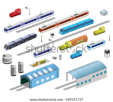 Isometric set of railroad equipment on a white background - stock vector