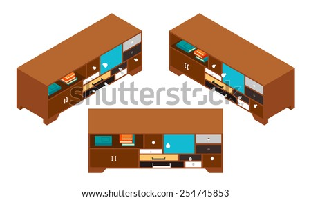 Isometric side table with lots of drawers - stock vector