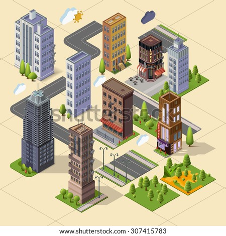 Isometric skyscrapers and office buildings, houses, roads, and parks. Set vector landmarks. Isolated building for your design. Flat vector. - stock vector