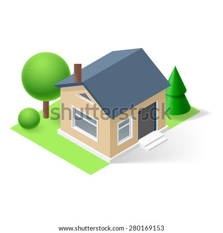 Isometric small home with flowers and trees - stock vector