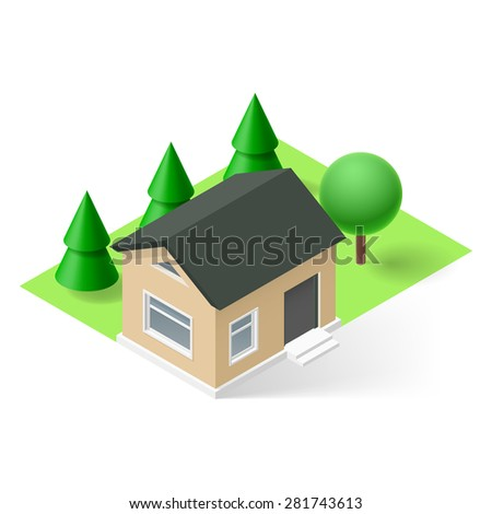 Isometric small house with green grass and trees - stock vector
