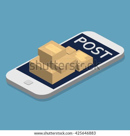 Isometric Smartphone and envelopes. Delivery Post Concept, Express Post. Flat 3d vector illustration. Email marketing. - stock vector