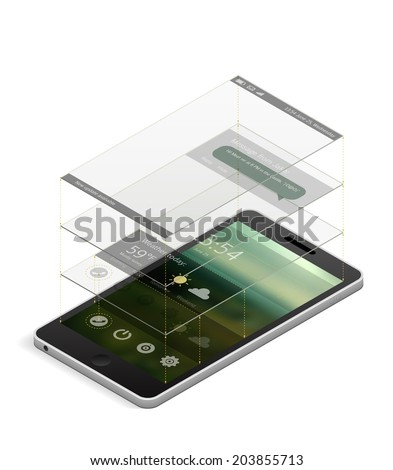 Isometric smartphone with an interface layout template. Different interface elements on different layers shown as glass rectangles above the screen. EPS10 vector illustration. - stock vector
