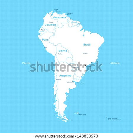 Isometric South America Map - stock vector