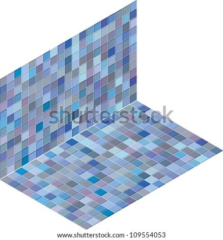 isometric tile pattern mixed blue purple backdrop - stock vector