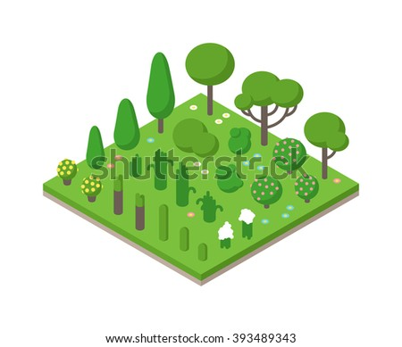 Isometric tree forest set and isometric design tree garden plant vector. Isometric tree forest 3d. Isometric vector green tree set on white background illustration. Green isometric forest flat style  - stock vector