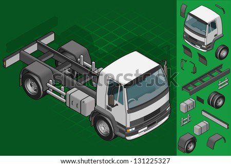 isometric truck solo driving in front view - stock vector