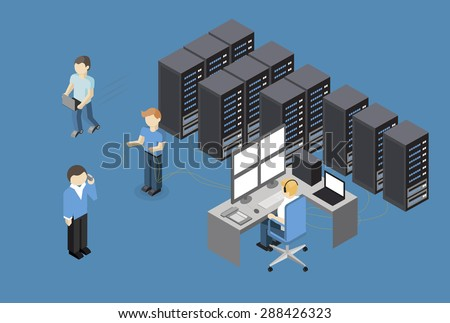 Isometric Vector Illustration diagnostic test in a server computer room. Server test in room. Servers being tested in room.  Technology communication  - stock vector