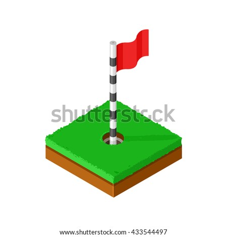 Isometric vector illustration of a golf green with hole and flag pin icon. Golfing sport icon of a putting green with red flag.  Golfing Sport Icon. - stock vector