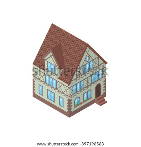 Isometric vector illustration of Tudor style house, eps10 - stock vector