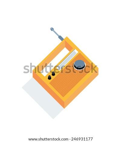 Isometric view of yellow radio-receiver - stock vector