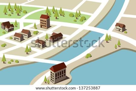 Isometric village - stock vector