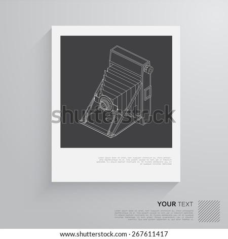 isometric vintage camera - stock vector