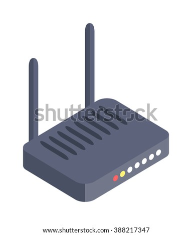 Isometric wifi modem router illustration isolated on white. Router detailed isometric icon graphic illustration. Isometric wi-fi modem 3d technology. Isometric wi-fi modem digital design. - stock vector