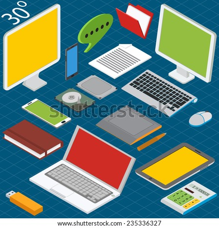 Isometric workplace with a laptop, desktop, smartphones, tablets, calculators, notebooks, hard drives and graphics tablet - stock vector