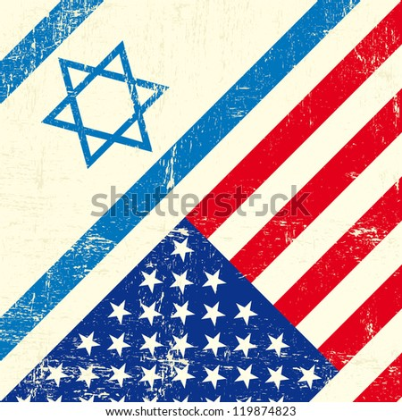 Israel and american grunge flag - stock vector