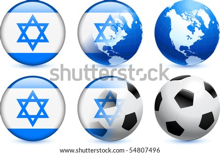 Israel Flag Button with Global Soccer Event Original Illustration - stock vector