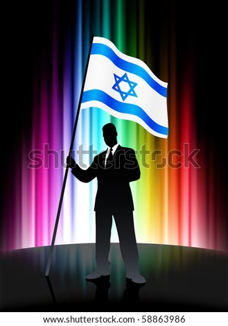 Israel Flag with Businessman on Abstract Spectrum Background Original Illustration - stock vector