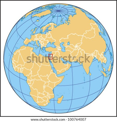 Israel Locate Map - stock vector
