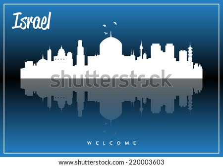Israel skyline silhouette vector design on parliament blue and black background. - stock vector