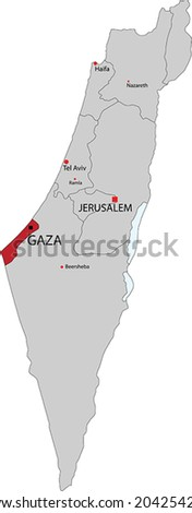 Israel vector map with the Gaza strip highlighted. - stock vector