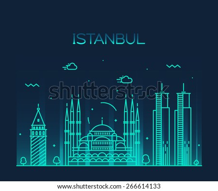 Istanbul City skyline detailed silhouette. Trendy vector illustration, line art style. - stock vector