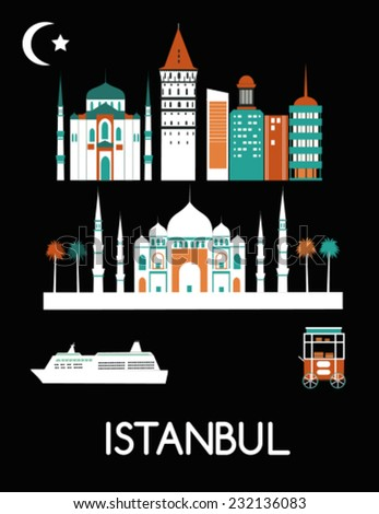 Istanbul city Turkey. Vector - stock vector