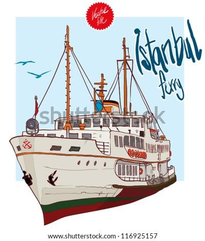 Istanbul Ferry illustration - stock vector