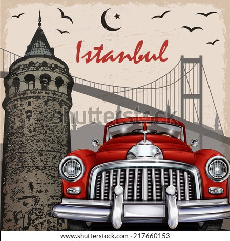 Istanbul  retro poster. - stock vector