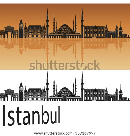 Istanbul skyline in orange background in editable vector file - stock vector
